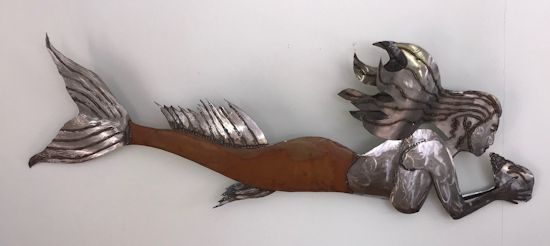 Mermaid metal sculpture - wall art, 60